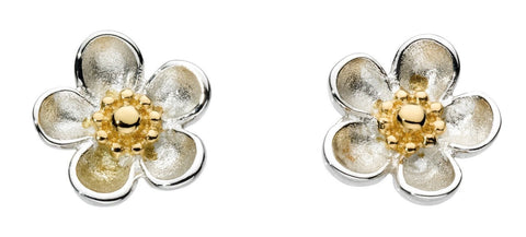 Kit Heath Blossom Wood Yellow Gold Plate Stud Earrings