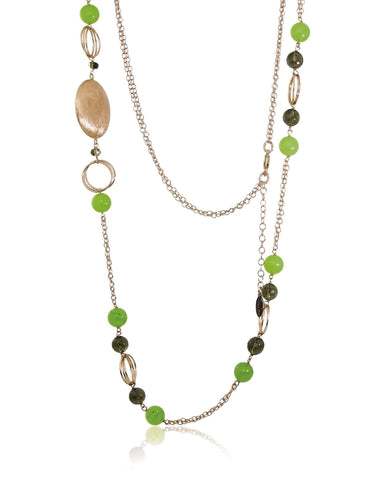 Seta Smoky Quartz and Green Jade Stone Necklace