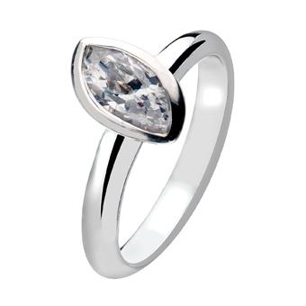 Silver White Marquis Zirconium Offset Plain Band Virtue Ring