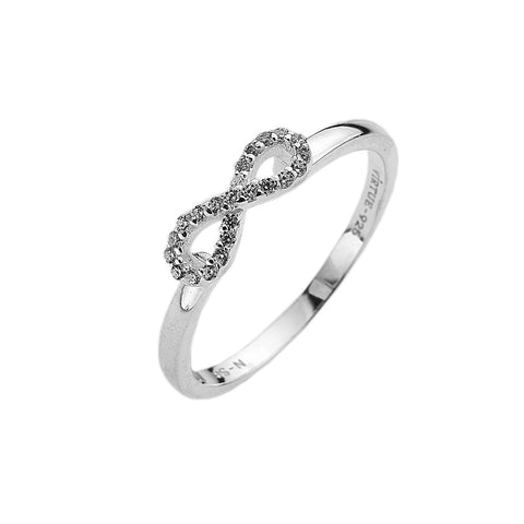 Silver Virtue Ring with Infinity of Zirconia