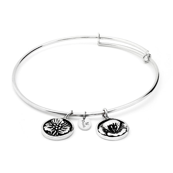 Flourish Poppy August Rhodium Plated Expandable Bangle