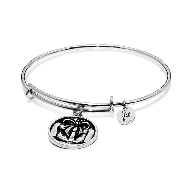 Wonderland Present Rhodium Plated Expandable Bangle