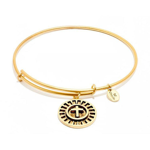 Talisman Cross Gold Plated Expandable Bangle