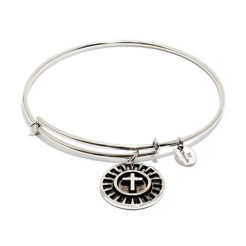 Talisman Cross Rhodium Plated Expandable Bangle