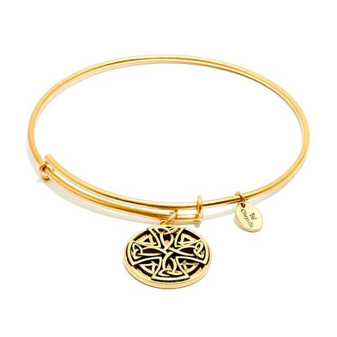 Talisman Celtic Cross Gold Plated Expandable Bangle