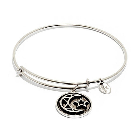 Talisman Crescent Rhodium Plated Expandable Bangle