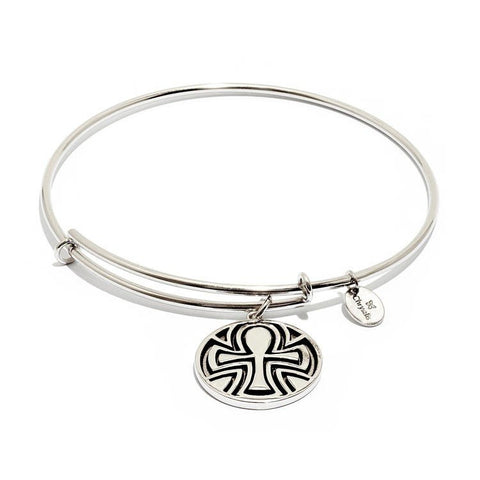 Talisman Ankh Rhodium Plated Expandable Bangle