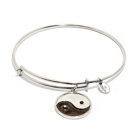 Yin Yang Silver Plate Expandable Bangle
