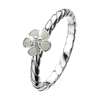Silver White Enamel Small Flower Virtue Ring