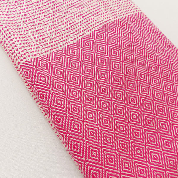 pink and ecru beach towel by Chalk Bay. 100% cotton towel for beach, surf, yoga and travel. Based on Turkish hammam towel designs. Newquay, cornwall.