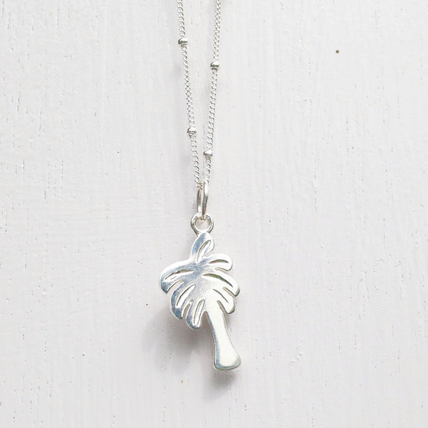 tropical palm tree - silver - enjoy 10% off full price now!