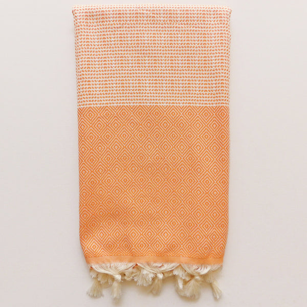 orange beach towel from Chalk Bay, Turkish towels, hammam Cornwall