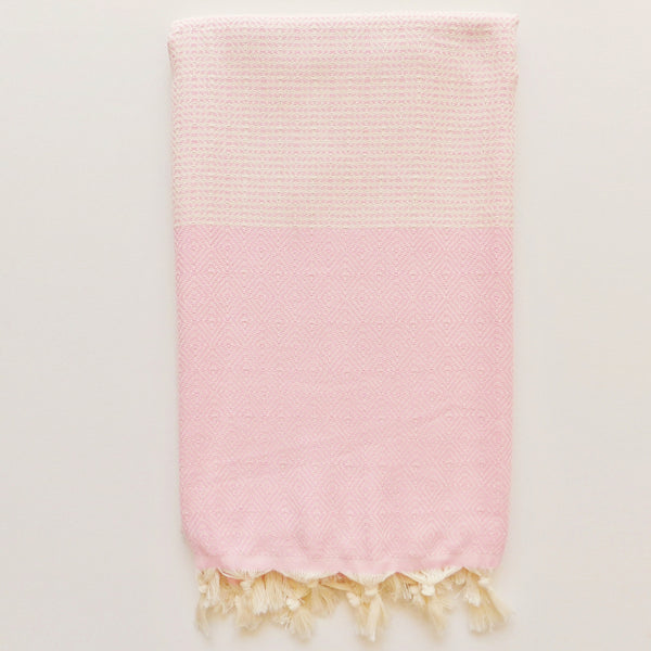 pale pink and ecru beach towel by Chalk Bay. 100% cotton towel for beach and travel. Based on Turkish hammam towel designs. Newquay, cornwall.