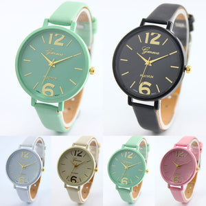 10 Colors PU Leather Korean Crystal Rivet Bracelet Clock Girls Watch