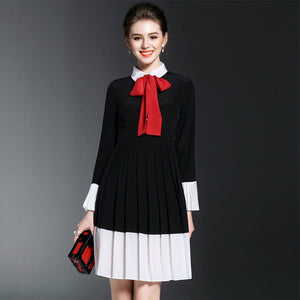 100% Silk Top Quality Bow Tie Pleated Dress