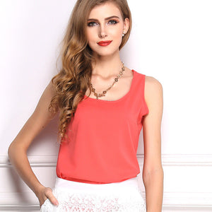 Summer Candy Color Sleeveless Chiffon T-Shirt - J20Style - 3
