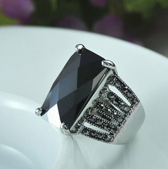 Black Square Crystal Glass Stone Ring - J20Style - 2