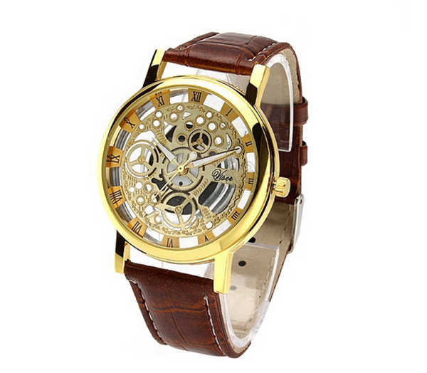 Classic Men's Gold Dial Skeleton Sport Army Wrist Watch - J20Style - 1