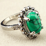 Oval Torquoise Stone with Silver Ring - J20Style - 1