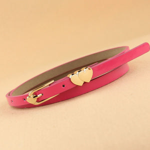 Double Heart Multi Color Thin Belt - J20Style