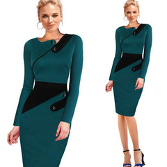 Elegant Patchwork Full Sleeve Bodycon - J20Style - 2