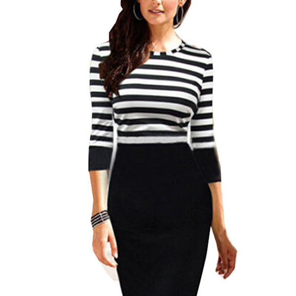 Elegant Striped Bodycon O-Neck Dress - J20Style - 2