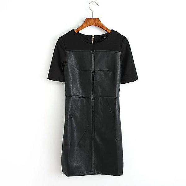 Black Leather Patchwork Short Sleeve Dress - J20Style - 2