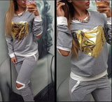 Gold Heart Hollow Out Tracksuit - J20Style