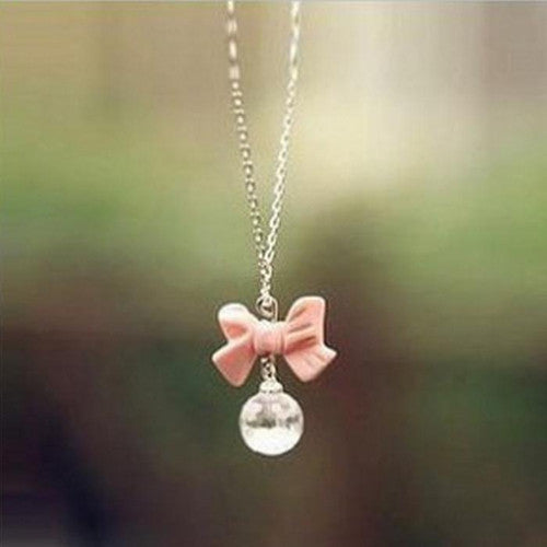 Sweet Pink Bow and Crystal Ball Chain - J20Style