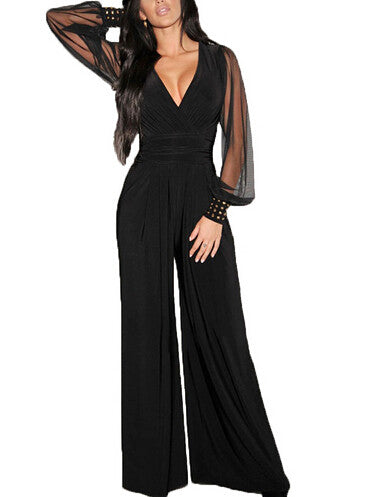 Black Deep V-Neck Jumsuit for Women - J20Style - 2