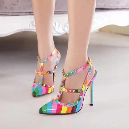 Multi-Color Studs Pointed High Heels - J20Style - 2