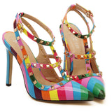 Multi-Color Studs Pointed High Heels - J20Style - 1