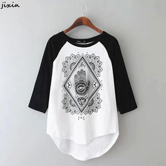 Black & White Patchwork Printed T-Shirt - J20Style - 1
