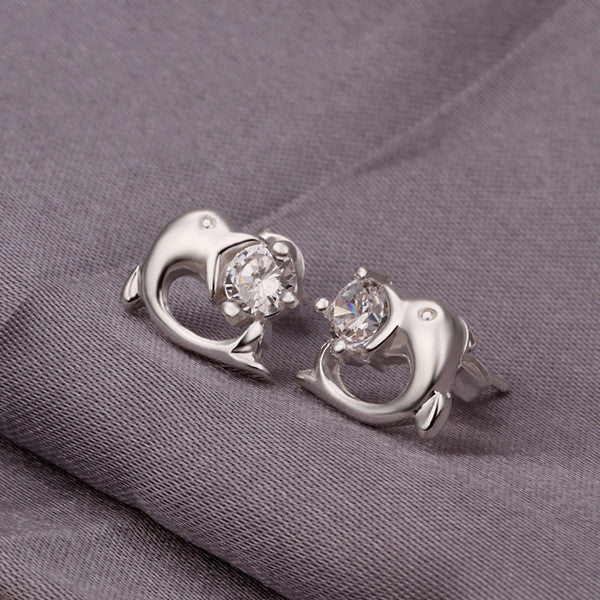 Silver Dolphin Stud Earrings - J20Style