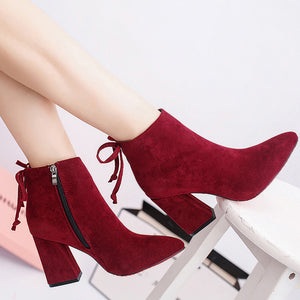 Short Cylinder Stylish Flock Square High Heel Ankle Boots