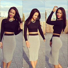 2 Piece Long Sleeve Bodycon Dress - J20Style