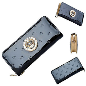 Faux Leather Rhinestone Crown Long Purse - J20Style - 6