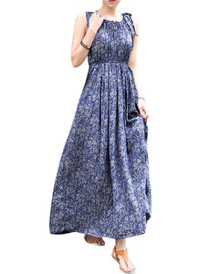 Casual Vintage Flower Sleeveless Party Dress - J20Style - 1