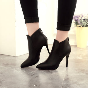 PU Leather Short Tube High Heels Pump Boots