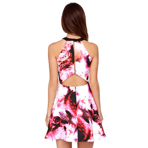 Red Ink Painting Print Cut Out Back Halter A-line Dress - J20Style - 3