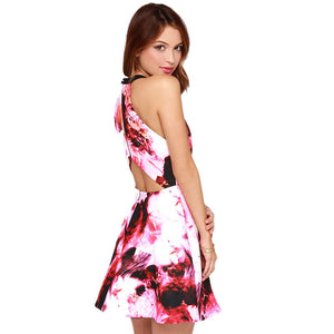 Red Ink Painting Print Cut Out Back Halter A-line Dress - J20Style - 6