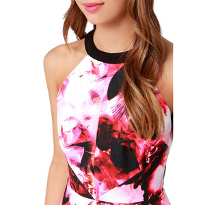 Red Ink Painting Print Cut Out Back Halter A-line Dress - J20Style - 4