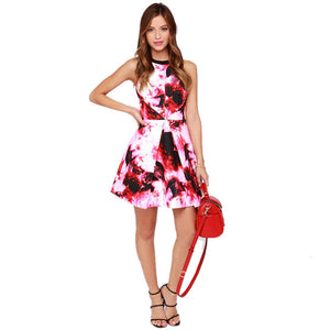Red Ink Painting Print Cut Out Back Halter A-line Dress - J20Style - 5