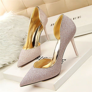 Solid Sequined Pointed Toe Shoes