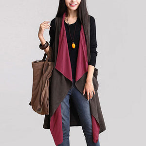 Casual Sleeveless Waterfall Trench - J20Style - 1