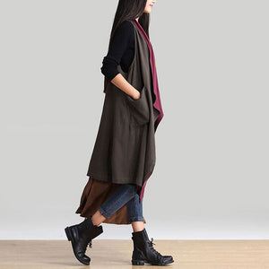 Casual Sleeveless Waterfall Trench - J20Style - 3