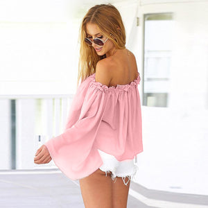 Summer Flare Sleeve Slash Blouse - J20Style - 2