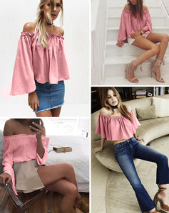 Summer Flare Sleeve Slash Blouse - J20Style - 3