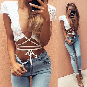 Summer V-Neck Lacework Crop Blouse - J20Style - 2