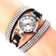 Crystal Rhinestone PU Leather Bracelet Wristwatch